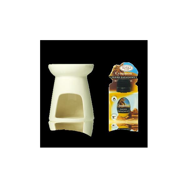 Kominek ceramiczny z olejkiem zapachowym Cynamon